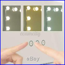 Whtie Vanity Makeup Mirror 17 LED Light Dimmer Hollywood Beauty Tabletop Light