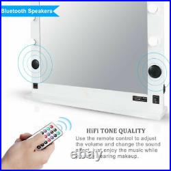 Wood Frame Hollywood Makeup Vanity Mirror HIFI Bluetooth Light with Dimmable Bulbs